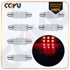 "6X Ultra Red Festoon 1.73"" 44mm 6-SMD 5050 Dome Map Cargo Car LED Light Bulb 12V"