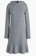 J.Crew Flannel Ruffle Gingham Plaid Shift Dress Long Sleeve Size Small M
