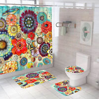 Floral Shower Curtain Set Bathroom Rug Thick Non-Slip Toilet Lid Cover Bath Mat