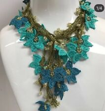 Valentine's day gift,turquoise necklace, crochet necklace, fashion jewelry, boho