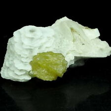 Gem Yellow Sphalerite Big Crystal on Fluorescent Calcite, Inner Mongolia-21177
