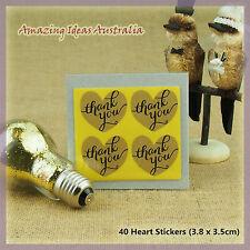 40 x Thank you Heart Stickers (3.8 x 3.5cm) | Wedding Favour Gift Seal Australia