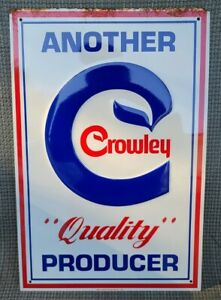 Vintage Crowley Milk Dairy Binghamton NY Metal Sign NOS Embossed Tin Crowley's