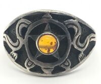 PSCL Sterling Silver Ring 925 Size 10.5 Baltic Amber Star Snake Peter Stone