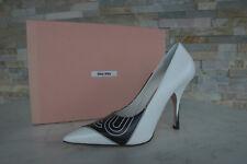 LUSSO MIU MIU GR 36 zeppe tacchi alti scarpe bianche + Nero NUOVO