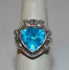 Over 4 Carats Natural Faceted LONDON BLUE TOPAZ 14K White Gold Ring