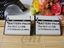 2Pcs LI-70B Li-Ion Rechargeable  Battery FOR Olympus  X-940, X-990 VG-160