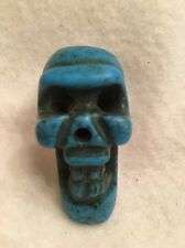 Old Chinese Hand Carved Turquoise Skull Pendant