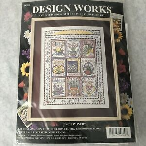 Cross Stitch Kit Design Works Garden Sampler Inch by Inch 14x18 Seed Packages
