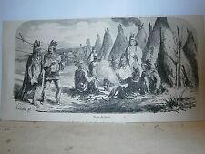 Gravure 19° tribu de Sioux (indien USA Amérique)