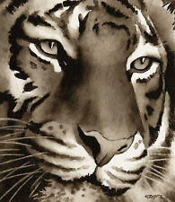 Tiger Art Print Sepia Watercolor Painting by Artist Djr