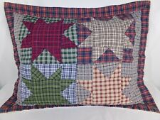 One Red Blue Quilted STANDARD PILLOW SHAM Stars Early American Country Cottage