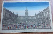 1770 Print ROYAL STOCK EXCHANGE LONDON Jean Francois Daumont Hand Painted PARIS