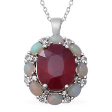 "925 Sterling Silver Platinum Over Ruby Opal Pendant Necklace Size 18"" Ct 7.7"