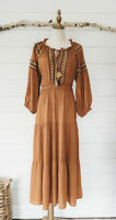 M Boho Bohemian Rust Embroidered Maxi Dress Medium Peasant New NWT Long Sleeve