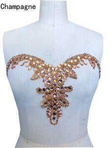 Rhinestone Diamante Applique Motif Crystal Sew On DIY Collar Belt Trim Wedding