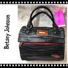 Betsey Johnson Black Zebra Print Insulated Lunch Tote Red Lips