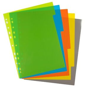 eco eco A4 File Dividers 5 Part Index Plastic Colour Tabs - 50% Recycled