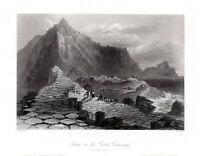Giants Causeway ANTRIM  IRELAND Fine Antique Engraving 1840 FREEPOST