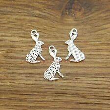 30 Rabbit Charms Hare Animal Bunny Charm Bracelet Antique Silver Tone 14x26 971