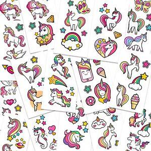 16 unicorn temporary tattoos sheets kid for girls age 6-8 children fake transfer