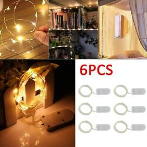 6x 20 LED 2m Waterproof LED MICRO Silver Copper Wire String Fairy Lights Decors