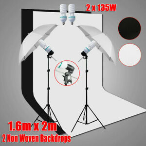 Photo Studio Continuous Umbrella Lighting Light Stand + Screen 2 Backdrops Kit