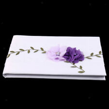 Wedding Guest Book White Lace Purple Flowers Signing Book Party Decoration