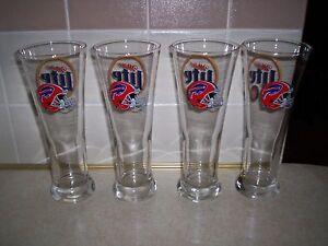 Buffalo Bills Miller lite beer glasses set of four