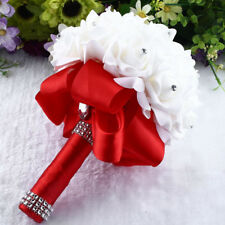 Crystal Roses Pearl Bridesmaid Wedding Bouquet Bridal Artificial Silk Flowers UK