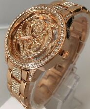Ladies Beautiful Watch Rose Gold Luxury Metal Strap Diamante Classic Smart New