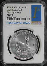 2018 South AfricaSilver Krugerrand NGC MS-70 First Day of Issue
