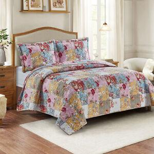 Daphne Multi-Color Reversible Lightweight Bedspread Over-Sized 3pc Quilt Set