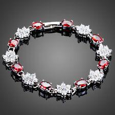 18K Gold GP Made With Swarovski Crystal Element Red White Flower Bangle Bracelet