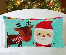 Christmas Pillow Case Fabric Cloth Printed 74 x 48cm - Santa & Reindeer
