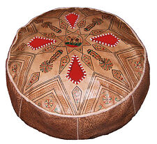 Ottoman Footstool Poof Moroccan Hand Made Leather Poufs Hassock X-Large Natural