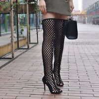 UK Women Open Toe Thigh High Knee Boots Stilettos Heels Hollow Out Shoes Lace up