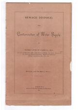 1884 History Sanitation Sewage Disposal Contamination Safe Drinking Water Supply