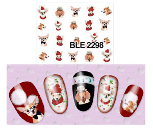 Water Transfer Watermark Art Nails Decal Sticker Manicure Dog Chihuahua BLE2298