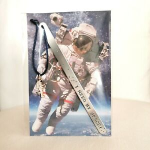 HANDMADE BOOKMARK HAND STAMPED ASTRONAUT I NEED MY SPACE NASA PLANET GIFT BOOK