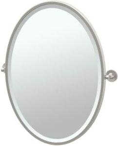 "Gatco 4859F Max Satin Nickel Framed Oval Pivot Mirror 27.5"" H x 24"" W -CLEARANCE"