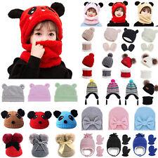 Toddler Kids Baby Boys Girls Winter Warm Pom Pom Hat Knit Beanie / Cap Scarf Set