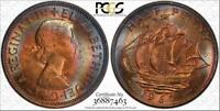 1967 GREAT BRITAIN HALF PENNY PCGS MS64RB MULTI COLOR TONED ONLY 2 GRADED HIGHER