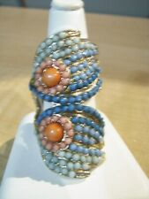 NICE LONG GOLDTONE WRAP AROUND FINGER WITH ACRYLIC LIL BEADS FLORAL DESIGN-SZ. 8