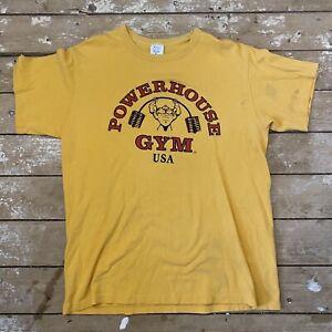 Vtg Single Stitch Powerhouse Gym T-Shirt XL Yellow Made In USA