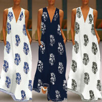 ZANZEA Women Sleeveless Bohemia Long Maxi Dress Summer Beach Party Sundress Plus