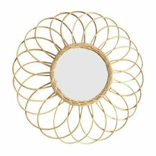 Rattan Wall Mount Mirror Fringe Round Color Wicker Hanging Mirrors For Apartment