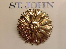 St John Collection.Designer Jewelry.Pin.Sun Goddess.Gold Tone