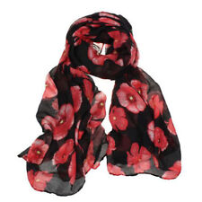 HOT Red Poppy Print Long Scarf Flower Beach Wrap Ladies Stole Shawl
