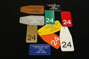 LARGE LAMINATE PLASTIC KEY RING, TAG, SUITABLE FOR HOTEL,GUEST HOUSE,B&B